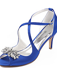 cheap -Women's Wedding Shoes Dress Shoes Stiletto Heel Peep Toe Rhinestone Satin Summer Dark Purple / Royal Blue / Burgundy / Party & Evening