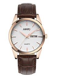 cheap -Men's Dress Watch Quartz Vintage Style Stylish Genuine Leather Black / Brown 30 m Calendar / date / day Casual Watch Analog Casual Fashion - Rose Gold black / gold White / Gold Two Years Battery Life