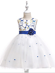 cheap -A-Line Floor Length Flower Girl Dress - Tulle / Polyester / Cotton Blend Sleeveless Jewel Neck with Petal / Pearls by LAN TING Express