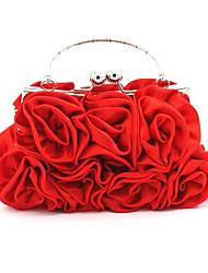 cheap -Women's Flower Silk Evening Bag Floral Print Black / Silver / Red / Fall & Winter