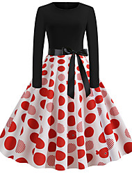 cheap -Audrey Hepburn Country Girl Polka Dots Retro Vintage 1950s Rockabilly Dress Masquerade Women's Costume Red Vintage Cosplay School Office Festival Long Sleeve Medium Length A-Line