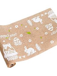 Недорогие -Иу pho_091i Пасха вретище настольный флаг Пасхальное яйцо кролика напечатаны настольный флаг Северные праздничные украшения поставляет кролика + пасхальные яйца