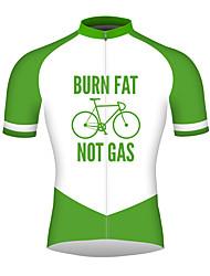 abordables -21Grams Homme Manches Courtes Maillot Velo Cyclisme Vert de forêt Cyclisme Maillot Hauts / Top Respirable Séchage rapide Bandes Réfléchissantes Des sports 100 % Polyester VTT Vélo tout terrain Vélo