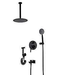 cheap -Black Shower Faucet - Contemporary Wall Installation Ceramic Valve Bath Shower Mixer Taps
