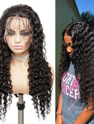 cheap -Human Hair Wig Medium Length Deep Wave Side Part Party Women Best Quality Lace Front Brazilian Hair Women's Black#1B 10 inch 12 inch 14 inch
