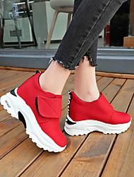 cheap -Women's Sneakers Hidden Heel Round Toe Canvas Sporty Spring & Summer Black / Red