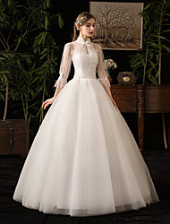 cheap -Ball Gown High Neck Floor Length Tulle 3/4 Length Sleeve Mordern Little White Dress Made-To-Measure Wedding Dresses with Appliques 2020