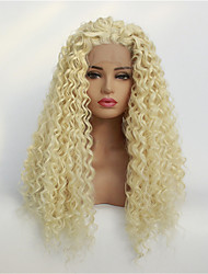 cheap -Synthetic Lace Front Wig Jerry Curl Free Part Lace Front Wig Blonde Medium Length Light Blonde Synthetic Hair 8-26 inch Women's Synthetic Blonde