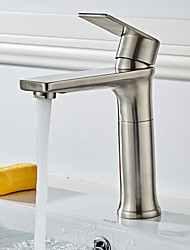 cheap -Bathroom Sink Faucet - Widespread / Rotatable Brushed Free Standing Single Handle One HoleBath Taps