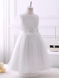 cheap -Princess Short Length Wedding / Birthday Chiffon / Tulle Sleeveless Jewel Neck with Beading / Appliques