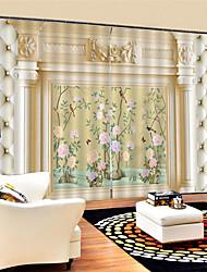 Недорогие -3d цифровая печать европейский уединение две панели полиэфирные шторы для столовой / гостиной водонепроницаемые пылезащитные декоративные высококачественные шторы