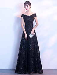 cheap -A-Line Elegant Sparkle & Shine Formal Evening Dress Off Shoulder Short Sleeve Floor Length Lace with 2020