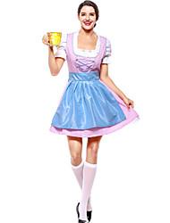 cheap -Oktoberfest Beer Outfits Dirndl Trachtenkleider Women's Blouse Dress Apron Bavarian Costume Blue Red Blushing Pink