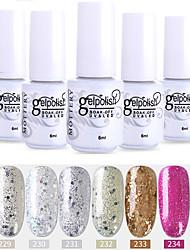abordables -vernis à ongles 6 pcs couleur 229-234 xyp soak-off uv / led gel vernis à ongles couleur unie vernis à ongles ensembles