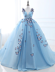cheap -Ball Gown V Neck Chapel Train Satin / Tulle Chinese Style / Vintage Inspired Formal Evening Dress with 2020