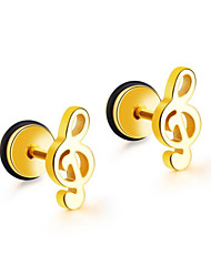 cheap -Men's Women's Earrings Vintage Style Music Notes Artistic Earrings Jewelry Black / Silver / Golden For Daily Holiday 1 Pair