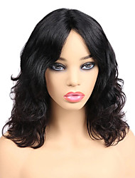 cheap -Remy Human Hair Full Lace Lace Front Wig Middle Part style Brazilian Hair Wavy Black Wig 130% 150% 180% Density Fashionable Design Classic Women Hot Sale Comfortable Women's Short Human Hair Lace Wig