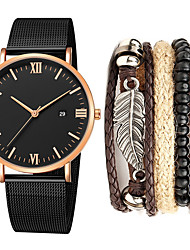 cheap -Men's Steel Band Watches Quartz Minimalist Calendar / date / day Analog Golden+Black Rose Gold black / gold / One Year / Stainless Steel / Chronograph