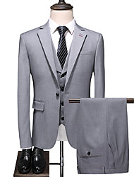 cheap -Gray Solid Colored Standard Fit Polyester Suit - Notch Single Breasted One-button
