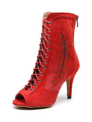 cheap -Women's Dance Shoes Suede Dance Boots Glitter / Crystal / Rhinestone Heel Slim High Heel Customizable Red / Performance