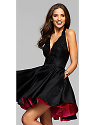 cheap -A-Line V Neck / Halter Neck Short / Mini Stretch Satin Sexy / Little Black Dress Cocktail Party / Holiday Dress 2020 with Appliques