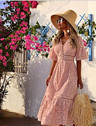 cheap -Women's Shirt Dress - Solid Colored Blushing Pink M L XL