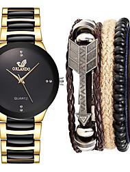 cheap -Men's Steel Band Watches Quartz Minimalist Chronograph Analog White Black Gold / One Year / Stainless Steel