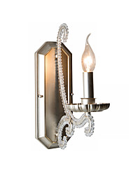 cheap -Vintage 1-Light Candle Wall Sconce Antique Metal Wall Light with Crystal Beads Wall Lamp for Bedroom Living Hallway