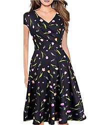 cheap -Women's A Line Dress V Neck Black White Blue S M L XL