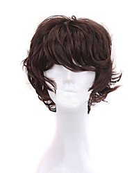 cheap -Synthetic Wig Natural Straight Asymmetrical Wig Short Dark Auburn Synthetic Hair 8 inch Men's Party Brown