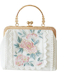abordables -Femme Broderie / Dentelle Polyester Pochette Couleur unie Blanche / Automne hiver
