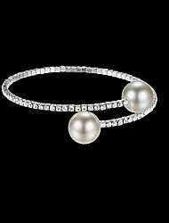 cheap -Women's Bracelet Bangles Bracelet Tennis Chain Twist Circle Simple Luxury European Fashion Elegant Imitation Pearl Bracelet Jewelry Gold / Silver For Wedding Party Gift Daily Work / Imitation Diamond
