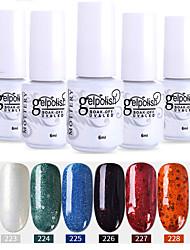 abordables -vernis à ongles 6 pcs couleur 223-228 xyp soak-off uv / led gel vernis à ongles couleur unie vernis à ongles ensembles