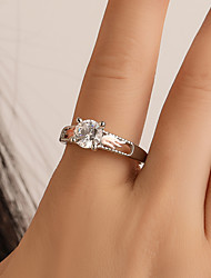 cheap -Women's Ring Cubic Zirconia 1pc Silver Alloy Simple Classic Vintage Engagement Street Jewelry Solitaire Cool