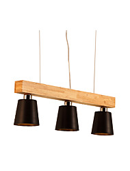cheap -3-Light Minimalist Wooden Chandeliers 3 Lights Nordic Simple Ceiling Light Fixtures For Washroom Bedroom Modern Metal Suspension Light