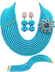 cheap -Women's Necklace Earrings Bracelet Beads Flower Lucky Elegant Africa Austria Crystal Earrings Jewelry Black / Light Yellow / Green For Wedding Party Gift Daily Festival 1 set