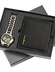 cheap -Men's Steel Band Watches Quartz New Arrival Chronograph Analog Black Brown / One Year / Stainless Steel