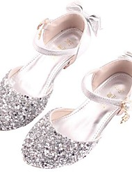 cheap -Girls' Flower Girl Shoes / Tiny Heels for Teens PU Heels Big Kids(7years +) Crystal / Sequin Silver Spring / Party & Evening