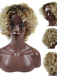 cheap -Synthetic Wig Afro Afro Curly Free Part Wig Blonde Short Black / Gold Synthetic Hair 12inch Women's Adjustable Heat Resistant Classic Blonde Black