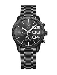 cheap -Men's Steel Band Watches Quartz Stainless Steel 30 m Water Resistant / Waterproof Casual Watch Analog Casual Fashion - Silver / Black One Year Battery Life