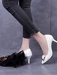 cheap -Women's Heels Kitten Heel Pointed Toe Patent Leather / PU Casual Summer Black / White / Daily