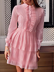 cheap -Women's Blushing Pink Dress A Line Solid Colored Peter Pan Collar Lace S M
