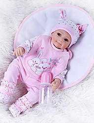 cheap -NPKCOLLECTION 22 inch Reborn Doll Baby Baby Girl Cute Hand Made Artificial Implantation Brown Eyes Cloth 3/4 Silicone Limbs and Cotton Filled Body with Clothes and Accessories for Girls' Birthday and