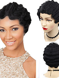cheap -Synthetic Wig Afro Curly Water Wave Short Bob Side Part Wig Short Blonde Natural Black Synthetic Hair 10 inch Women's Adjustable Heat Resistant Classic Black / African American Wig / For Black Women