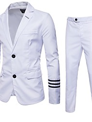 cheap -White / Black Solid Colored Standard Fit Polyester Suit - Notch Single Breasted Two-buttons
