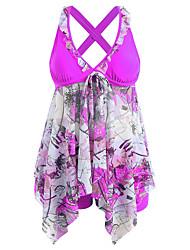 abordables -Femme Basique Violet Rouge Bleu Bandeau Taille haute Caleçon de Bain Tankinis Maillots de Bain - Fleur Imprimé S M L Violet