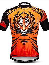 cheap -21Grams 3D Animal Tiger Men's Short Sleeve Cycling Jersey - Black / Orange Bike Jersey Top Breathable Moisture Wicking Quick Dry Sports Polyester Elastane Mountain Bike MTB Road Bike Cycling Clothing