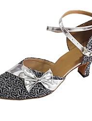 cheap -Women's Modern Shoes / Ballroom Shoes PU Heel Bowknot Cuban Heel Dance Shoes Purple / Silver / Bronze