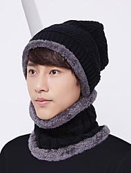 cheap -2PCS/Set Men Hat + Neck Gaiter Hat Collar Suit Knitted Cap Neck-Warmer