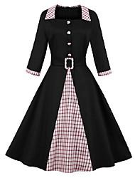 cheap -Women's Plus Size Red Black Dress Basic Swing Color Block Square Neck S M
